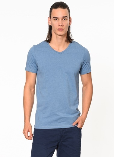 Jack & Jones V Yaka Tişört Mavi